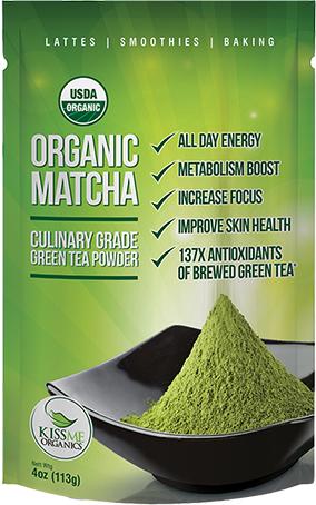 100% Organic Matcha Green Tea Powder by KissMe Organics